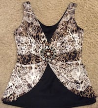 women's black and leopard skin print top