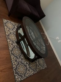Contemporary Oval glass/mirrored cocktail table