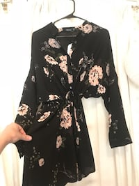Black and white floral long-sleeved dress
