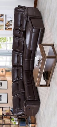 CLEARANCE] Barrington Brown Leather Gel Right Facing Chaise Reclining Sectional | 1023 Houston, 77036