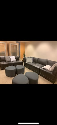 Black leather sectional sofa with throw pillows SF, 94111