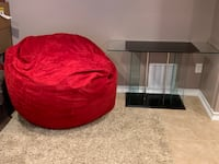 Bean Bag Chair and Glass Table