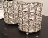 Two embellished rhinestone cylindrical silver-colored containers Springfield, 62702