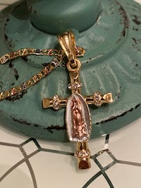 "Virgin Mary Cross Pendant With Chain Necklace 24"" 3mm"