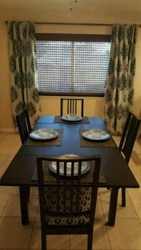 black wooden dining table with chairs Cypress, 90630