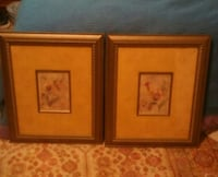 2Framed Flower Pictures- Wood inlay matting!