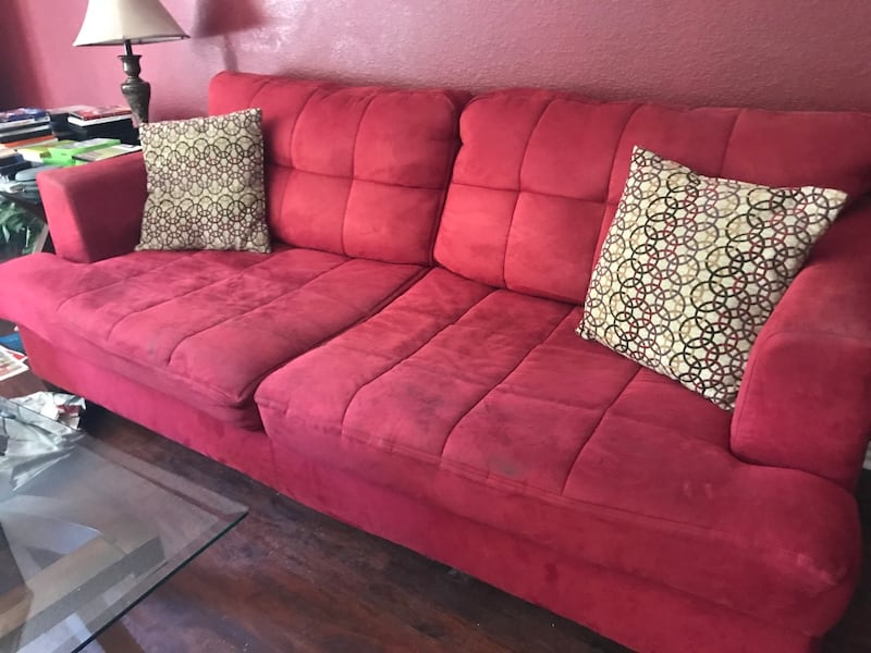 Sold Red Suede Sofa Loveseat In Grand
