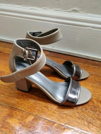 pair of silver open toe ankle strap heels Malden, 02148
