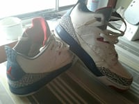 Sz 7 boys white-&-blue Air Jordan basketball shoes