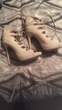 Lace up nude booties size 9  Bryan, 77801