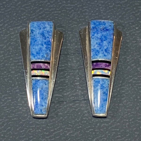 Genuine Navajo Mosaic Sterling Silver Lapis Opal Sugilite Earnings 4