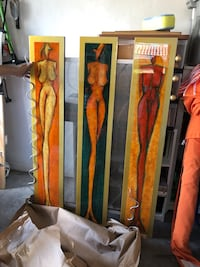 Scandinavian 3 ladies painting/sculpture with metallic accents.  Over 4.5 ft. Tall Pembroke Pines, 33028