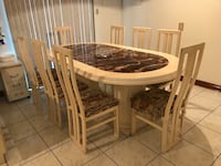 oval brown wooden dining table set Brampton, L6S