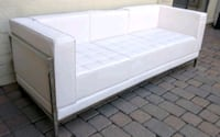Very Cool Modern White Leather & Chrome Sofa Couch Phoenix, 85053
