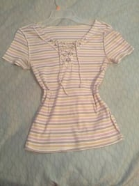 white and pink stripe button-up shirt El Paso, 79905