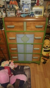 green and brown wooden dresser Midland, L4R 1E5