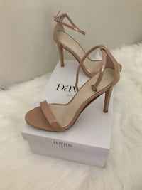 Pair of brown leather peep toe ankle strap pumps Alexandria, 22307