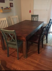 rectangular brown wooden table with four chairs dining set Marana, 85653