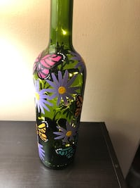Butterfly painted wine bottle