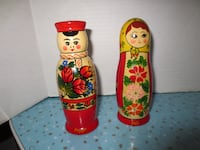 Vintage Hand Made Hand Painted Russian Matryoshka Wooden Salt and Pepp