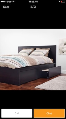 IKEA queen size black /brown bed frame with 4 underneath drawers