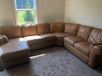 MOVING today!  Must go.  Tan leather sectional (4 pieces) Leesburg, 20175