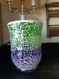 Purple green mosaic candle holder  Edmonton, T6L 3A5