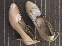 Beige leather almond-toe ankle-strap pumps
