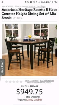 NEW American Heritage 5 pc Dining Table & Chairs Gurnee, 60031
