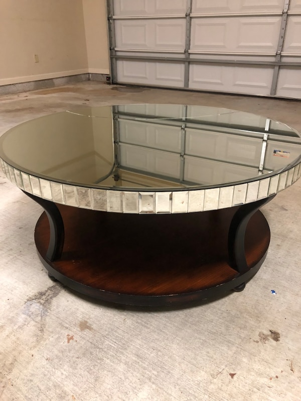 Used Z Gallerie Mirrored And Wood Coffee Table For Sale In Baton