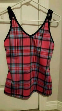 red, black, and white plaid sleeveless top Calgary, T3N 1B4