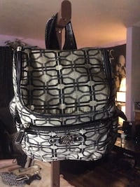 black and gray satchel backpack