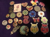26 assorted Buttons Crafts scrapbook knitting crochet Wooden Coated Forest Lake