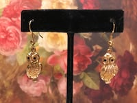 Smaller Cute Gold Owl Earrings with onyx Eyes  Gainesville, 20155