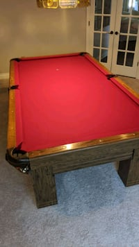 8' Pool Table, Lamp, and Accessories