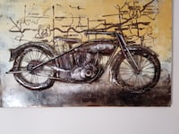 Route 66..... One of a kind metal Motorcycle  framed  art  Kitchener