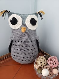 New Stuffed Handmade Knitted Grey Owl KITCHENER