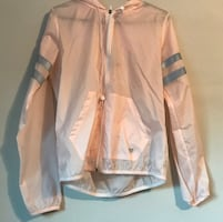 Forever 21 PINK Grey Hooded Windbreaker small