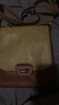 Brown and green leather handbag St Catharines, L2P 2Z1
