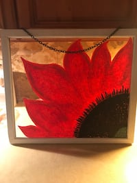 Red sunflower painting on vintage window looking for a good home! 299 mi