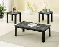 Brand New 3 Piece Faux Marble Coffee Table Set  Silver Spring