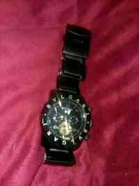 round black chronograph watch with black link bracelet Phenix City, 36869
