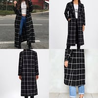 white and black thick longline coat New York, 11366