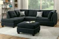 New black reversible sectional couch ottoman sofa Los Angeles