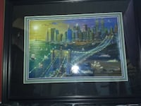 brown wooden framed painting of house HOUSTON