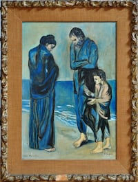 """Hand painted oil on canvas of Pablo Picasso painting """"The Tragedy"""" OBO"""