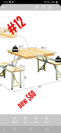 outsunny portable wooden picnic table  Whitchurch-Stouffville, L4A 0A4