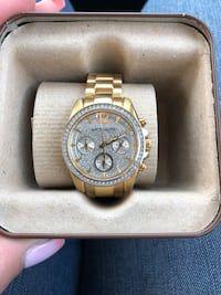 Round Gold Wittnauer chronograph watch with link bracelet