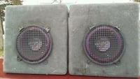 two black and purple subwoofer speakers Rawson, 45881