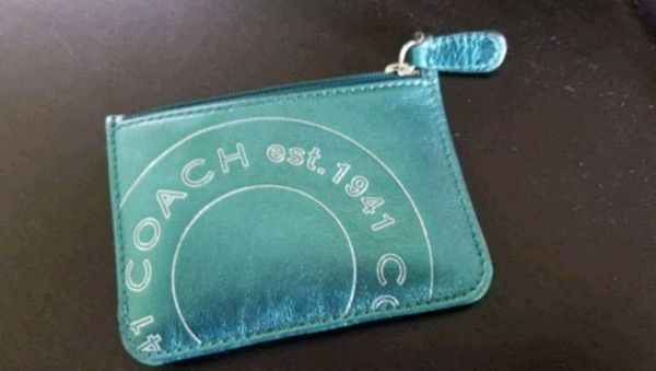 blue and white leather wallet
